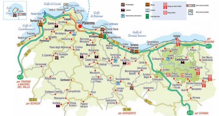 Cartina Turistica Sicilia Occidentale.Mappa Di Palermo Cartina Interattiva E Download Mappe In Pdf Sicilia Info